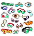 glasses and eyes decorative elements for stickers vector image vector image