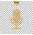Gold glitter icon of microphone isolated on vector image vector image