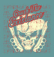 grunge style vintage skull wearing hat hand vector image vector image