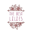 Handsketched typographic element with lilies vector image