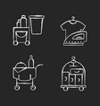 hotel services chalk white icons set on black vector image