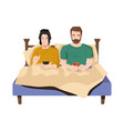 husband and wife with smartphones in bed isolated vector image vector image