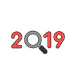 icon concept 2019 with magnifying glass vector image vector image