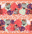 jungle seamless pattern with wild cats and vector image vector image