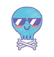 kawaii cute happy skull with bones vector image