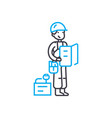 measuring work man thin line stroke icon vector image vector image