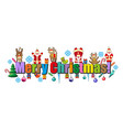 merry christmas happy christmas of letters merry vector image