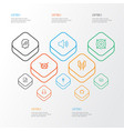 multimedia outline icons set collection of barrel vector image vector image