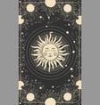 mystical drawing sun with a face tarot vector image vector image