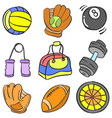 object sport various doodle collection vector image vector image