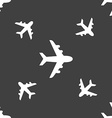 Plane icon sign Seamless pattern on a gray vector image vector image