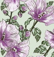 Purple Seamless Floral Background with Hibiscus vector image vector image