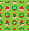 seamless pattern with cute cartoon elf vector image vector image