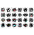 set funny virus emoticons with smiling angry vector image vector image