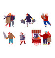 set people characters with holiday scenes on vector image vector image