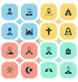 set simple faith icons vector image vector image