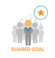 shared goal businesspeople team cooperation icon vector image