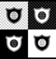 shield with world globe icon isolated on black vector image