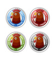 silver badges with chicken head and lettering vector image vector image