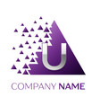 silver letter u logo in the purple pixel triangle vector image