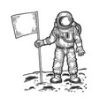 spaceman on moon with flag engraving vector image