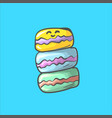 stack of cute smiling colorful macaron macaroon vector image