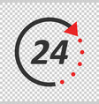 time icon flat 24 hours on isolated background vector image vector image