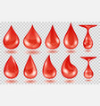 translucent red water drops vector image