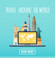 travel around the world vacation booking flat vector image vector image