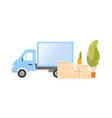 truck near a pile cardboard boxes vector image