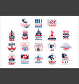 united states of america logo templates set happy vector image