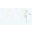 waitress silhouette with a tray in restaurant vector image vector image