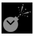 white halftone time fireworks charge icon vector image
