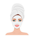 woman with a cosmetic face mask vector image