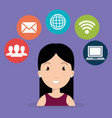 woman with social network icons vector image vector image