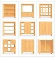 Wooden Wardrobe Cabinet Bookshelf vector image