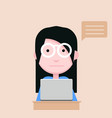 young woman use computer flat design vector image