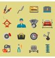 Auto mechanic car repair service flat icon set vector image