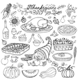 Thanksgiving dayDoodle food iconsLinearset vector image