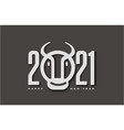2021 numerals logo with ox or bull vector image