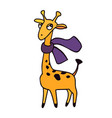 Animals zoo giraffe with scarf in cartoon