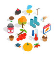autumn icons set isometric 3d style vector image vector image