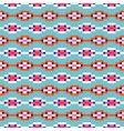 aztec geometric rows seamless blue pattern pixel vector image vector image