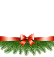 Background with christmas tree branches and a red vector image vector image