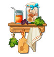 bank with honey eggs cutting board towel vector image vector image