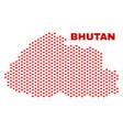 bhutan map - mosaic of love hearts vector image vector image