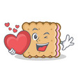 biscuit cartoon character style with heart vector image