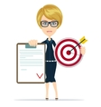 Business woman or manager shows contract and vector image