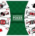 cards gambling play poker and checkered green vector image