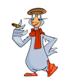 cartoon bird goose wearing a scarf a cap vector image vector image